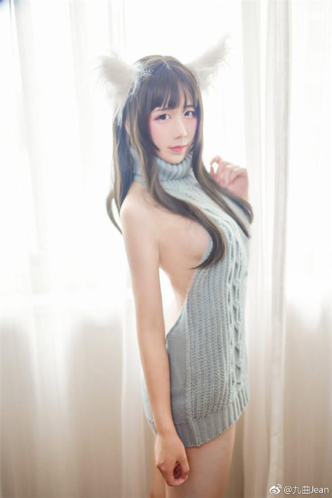妹子图:@九曲Jean,露背毛衣怎么没有看见背啊!